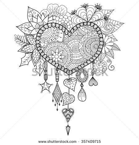 michel bouquet stabilo heart shape floral dream catcher for coloring book for