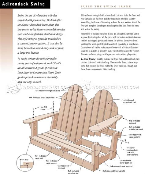 adirondack swing plans free adirondack swing plans woodarchivist