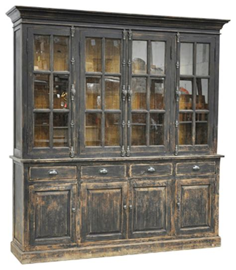 French Country Kitchen Decor Ideas by Black Distressed Display Cabinet Rustic China Cabinets