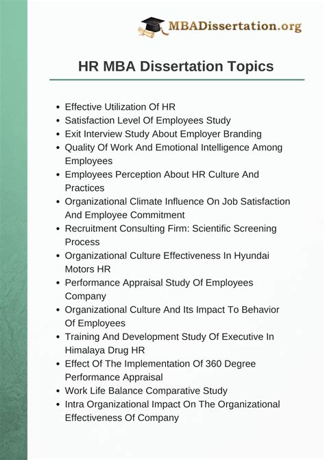 Hrm Project Topics For Mba by Dissertation Topics 28 Images 28 Marketing