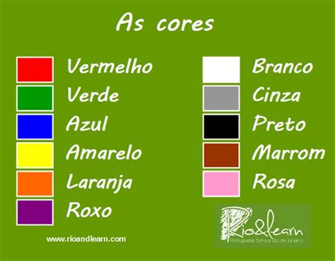 colors in portuguese the site also has audio files with