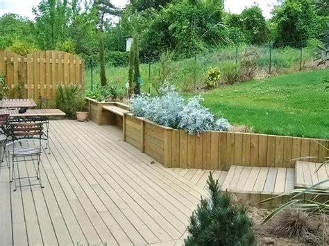 Jardins En Terrasse by Nivrem Terrasse Bois Jardin En Pente Diverses