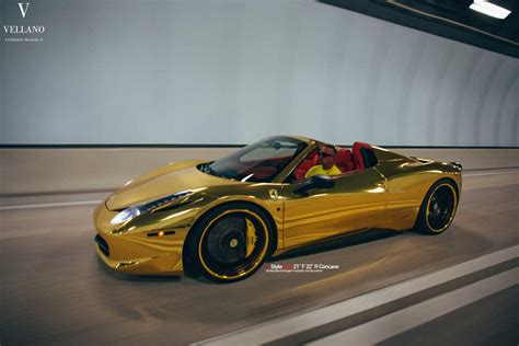 golden ferrari golden ferrari 458 spider on vellano wheels autofluence