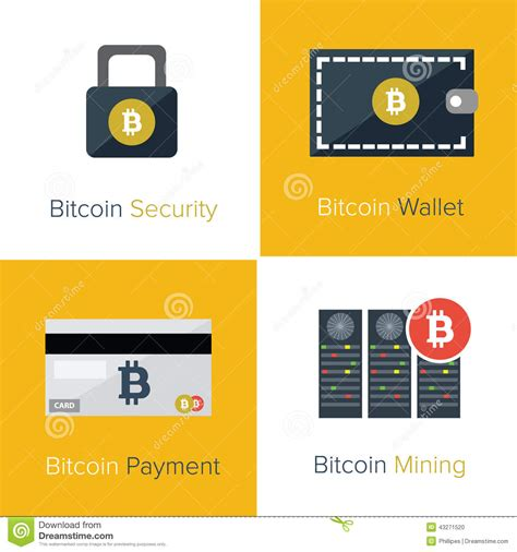 bitcoin website bitcoin flat icons template stock vector image 43271520