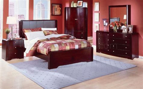 leather headboard bedroom set warm cherry finish 5pc modern bedroom set w leather headboard