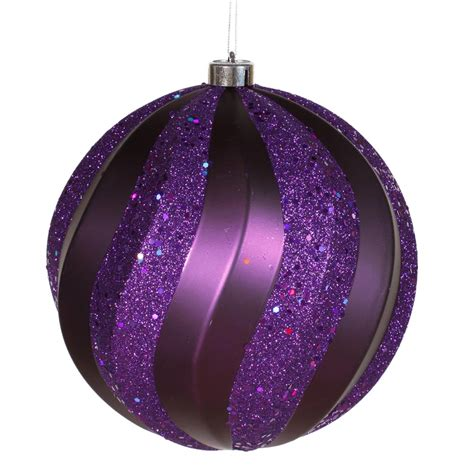 8 inch matte glitter swirl christmas ball ornament purple