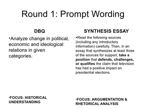 Analysis And Synthesis Essay by Synthesis Vs Dbq