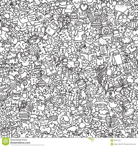 pattern drawing illustrator christmas seamless pattern in black and white stock