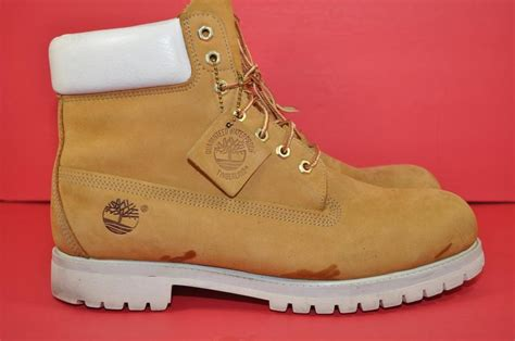 timberland mens scrub 6 inch boots wheat white used size