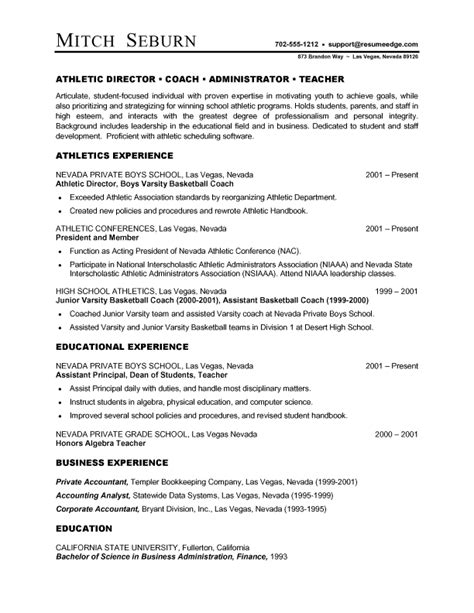 High School Resume Sles 2012 Athletic Director Resume