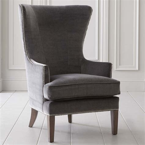 wingback accent chair tall high back living room tufted whitney accent chair in fabric or leather