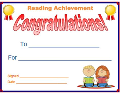 reading certificate template search results for an a in reading certificate