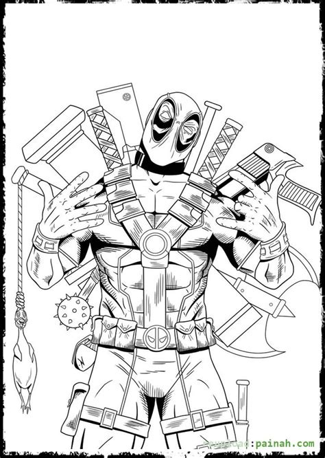 little deadpool easy coloring pages