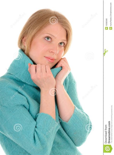 comfortably warm young woman in comfortable warm sweater stock photo