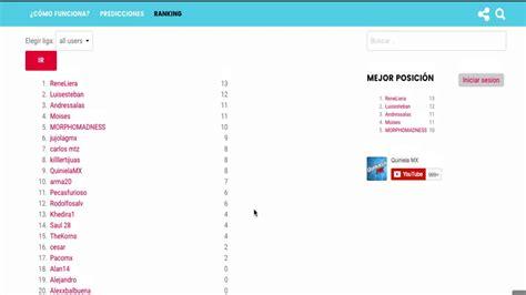 tabla general de posiciones hasta la jornada 14 tabla de posiciones en la quiniela jornada 1 quiniela mx