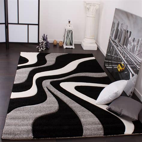 designer teppich grau designer teppich mit konturenschnitt wellen muster schwarz