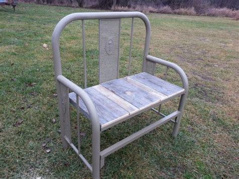 metal bed bench recycled metal bed garden bench hoardermart unity in hoarding pi