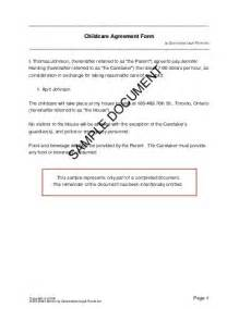 Child Maintenance Agreement Letter Uk Free Child Care Agreement Canada Templates Contracts Agreements And Forms