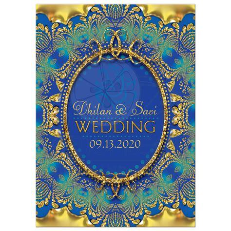 glitter gold blue ganesha indian wedding invitation