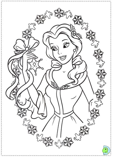 free coloring pages of disney princess christmas