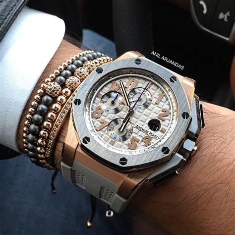 Jam Tangan Cowokpria Audemars Piguet Royal Oak Rosegold Grey Rubber 2 audemars piguet royal oak offshore chronograph replica