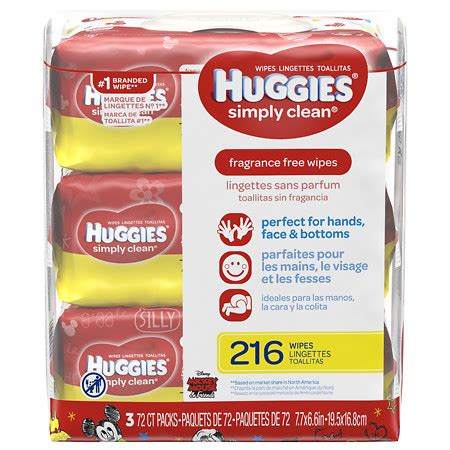 Baby And Wipes 60pcs 3pack huggies simply clean baby wipes soft pack fragrance free 3 packs of 72 each walgreens