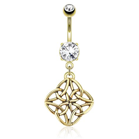 gold plated celtic knot dangle belly navel ring piercing