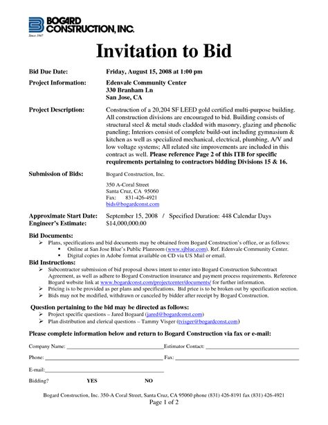 invitation to bid construction template 10 best images of construction invitation to bid template