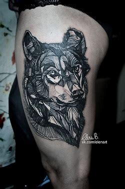wolf #leg #thigh #tattoos http://akalola.tumblr.com