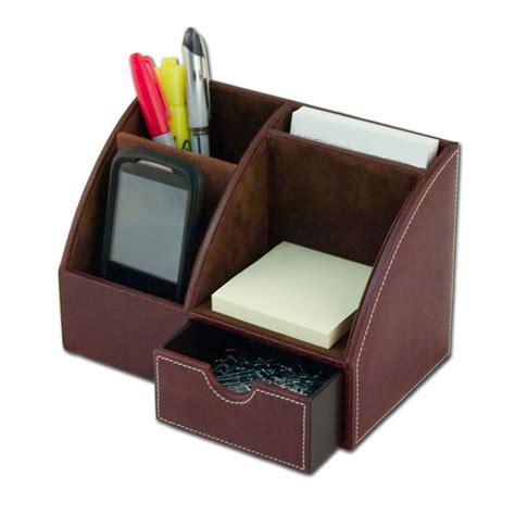 Desktop Organizer Black Leather Brolero Desk Top Organizer