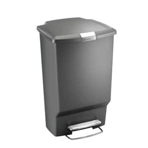45 l grey rectangular plastic step trash can cw1372 the