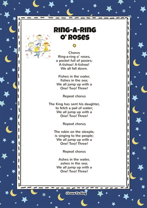 ring a ring o roses song with free lyrics