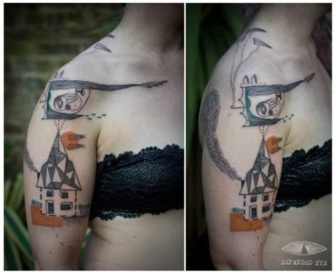 expanded eye tattoo shoulder geometric house by expanded eye
