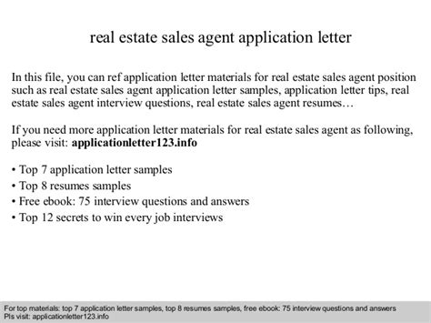 Application Letter Materi Real Estate Sales Application Letter