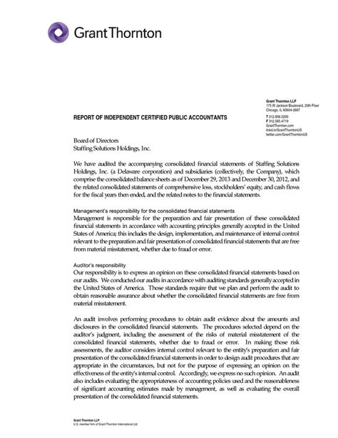 Certified Financial Statement Letter
