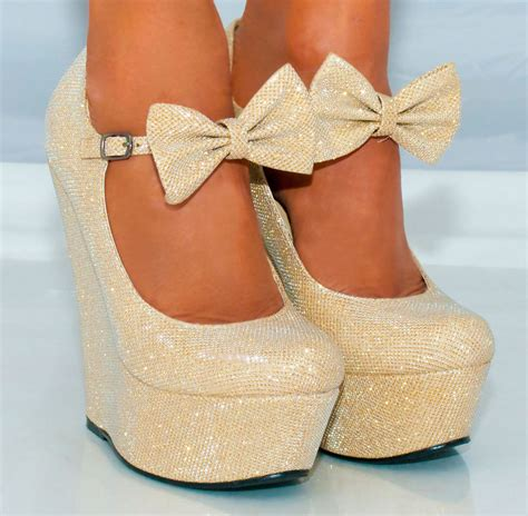 womens platform glitter shimmer sparkly high wedges shoes