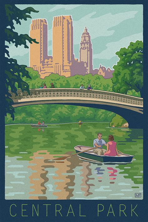 boating in central park painting vintage central park by mitch frey