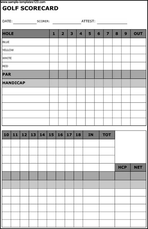 golf scorecards templates sle golf scorecard template sle templates