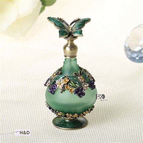 decorative perfume bottles vintage metal green crystal empty perfume bottle