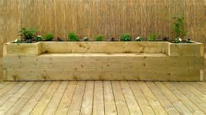 flower bed bench softwood decking for the garden with a full depth raised