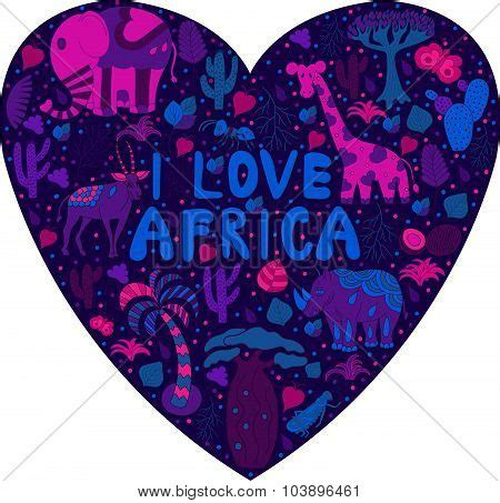 cute africa pattern cute africa pattern in silhouette of heart with words quot i