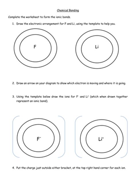 Ionic Bonding Worksheet by Ionic Bonding Worksheet By Jechr Teaching Resources Tes