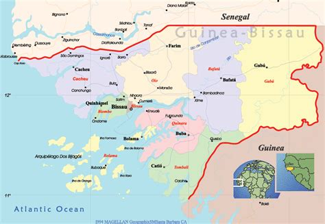 guinea bissau political map guinea bissau politische karte