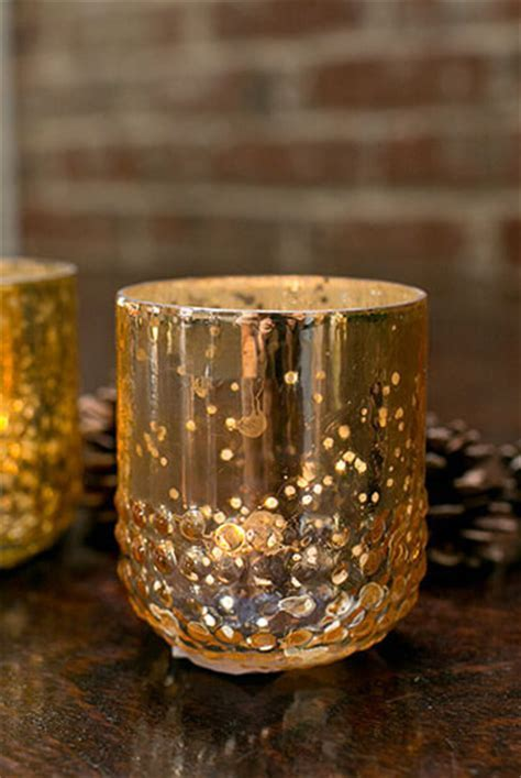 6 Array Gold Votive Holders Mercury Glass