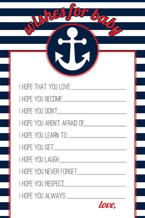 Nautical Baby Shower Printables Free by Navy Nautical Wishes For Baby Printable Baby