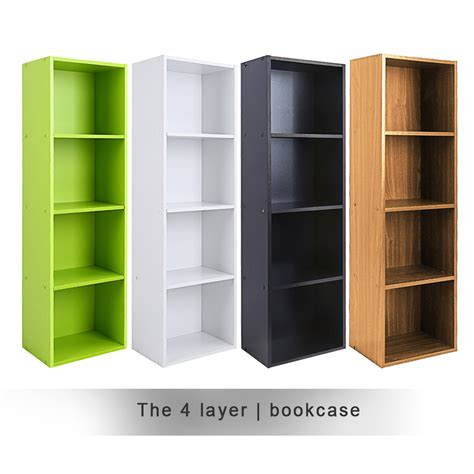 Wooden Storage Unit Cube 3 4 Tier Strong Bookcase Shelving Strong Bookshelves