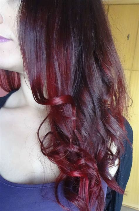 dying red hair light brown dark brown violet burgundy red ombre hair i made a