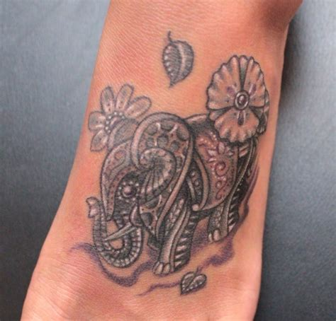 color elephant tattoo foot best tats