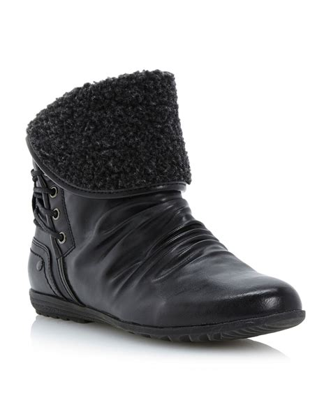 linea paisley fur cuff ankle boots in black lyst