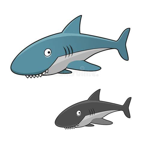 baby shark x2 cartoon toothy gray shark character stock vector